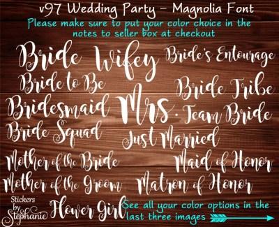 v97-M Magnolia Font Wedding Bridal Party by ...