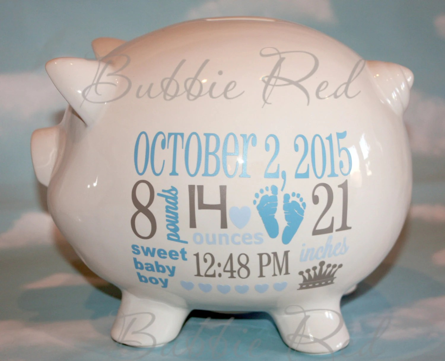 Silver Piggy Bank For Baby Personalized Piggy Bank Baby Boy Piggy Bank Baby Birth Stats