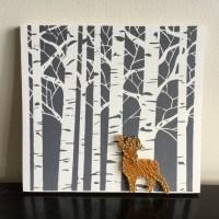 Birch Tree Golden Deer Wall Art