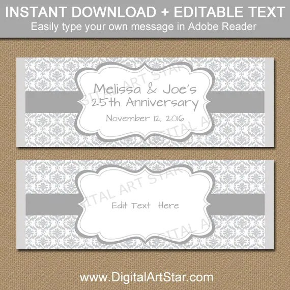 25th Anniversary Candy Wrappers - Silver Anniversary Party Candy - candy bar wrapper template