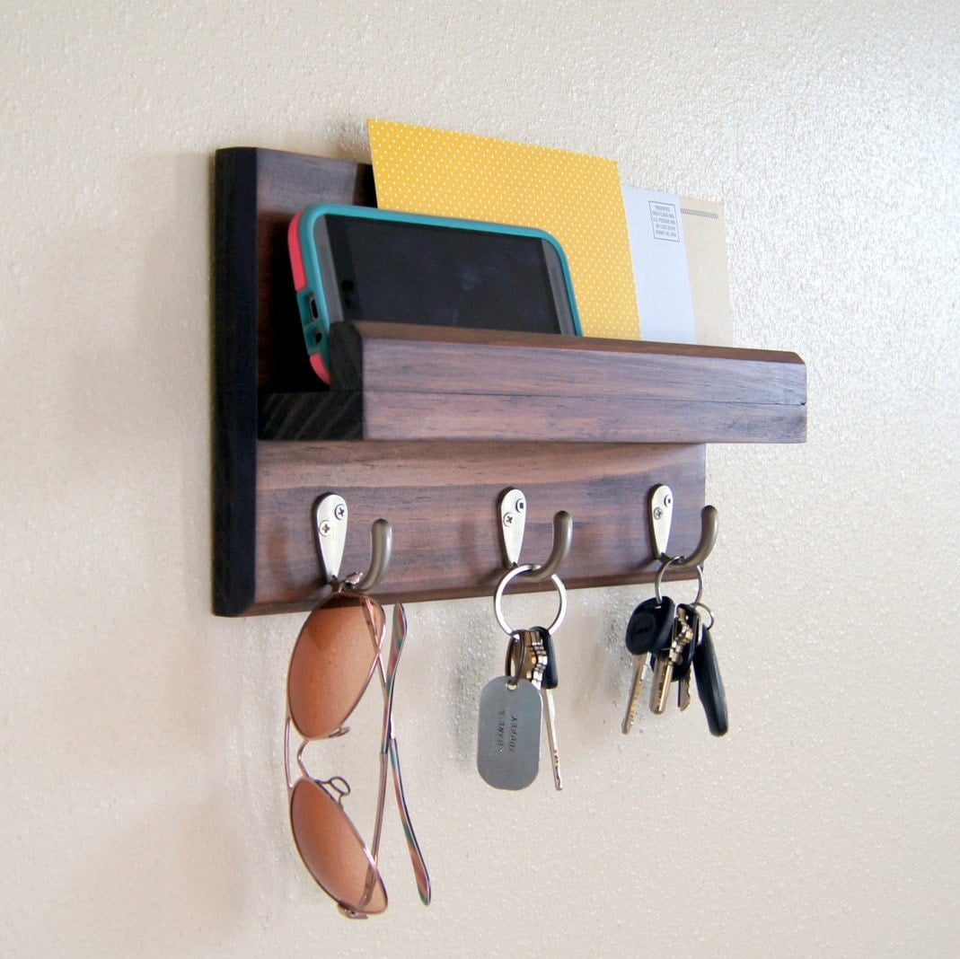 Modern Key Rack Key Rack And Mail Holder By Midnightwoodworks On Etsy