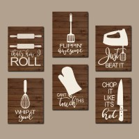 KITCHEN QUOTE Wall Art Funny Utensil Pictures CANVAS or