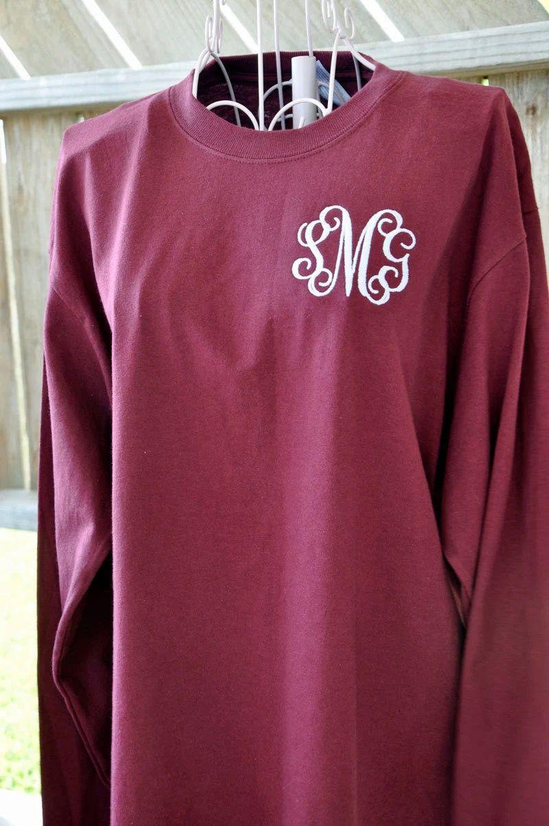 monogrammed long sleeve t shirts