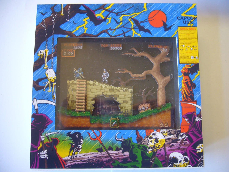 Ghouls 39n Ghosts Arcade Screen 3d Shadow Box Art Diorama