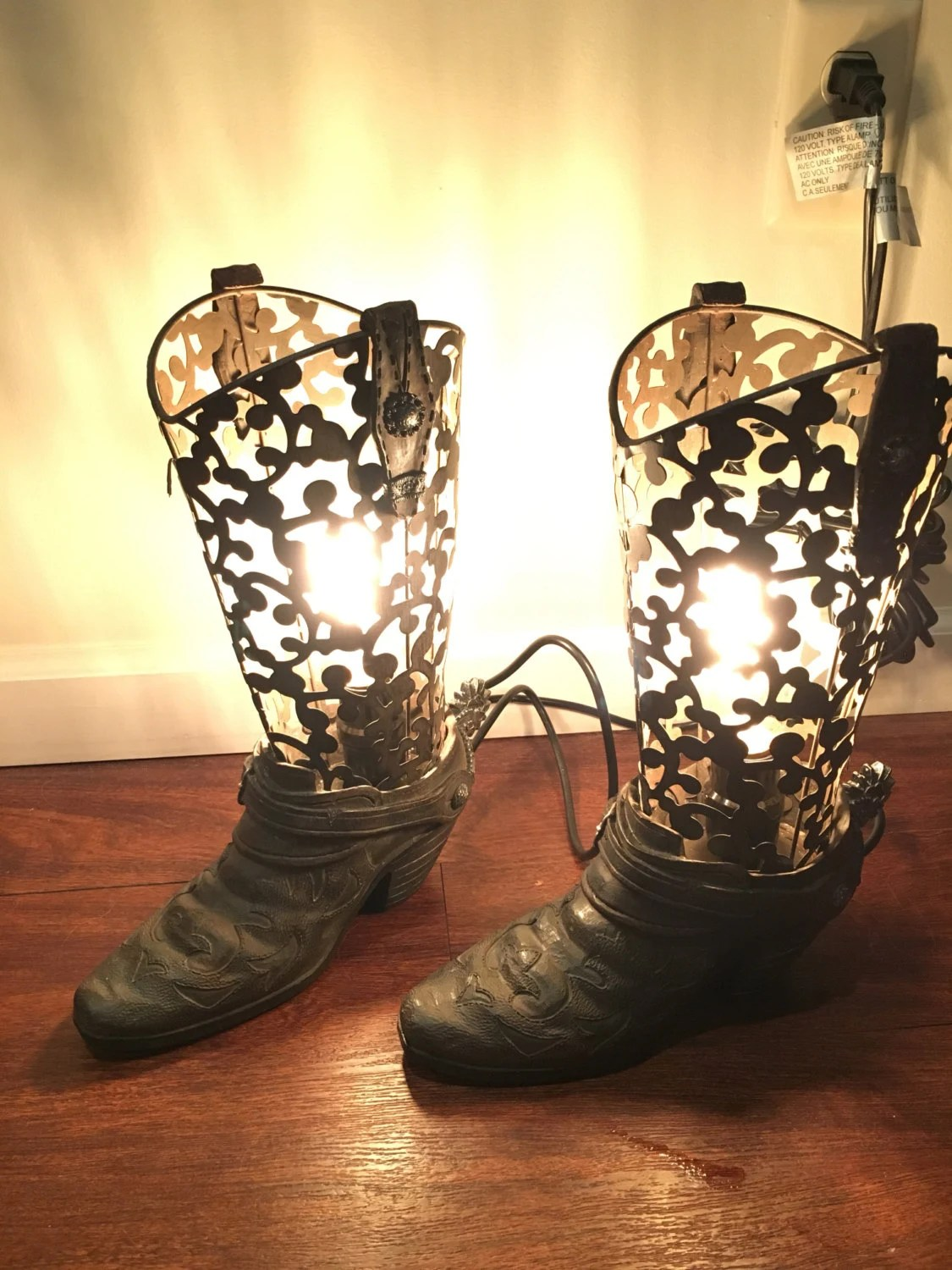 Hand Made Rustic Cowboy Boot Lamps