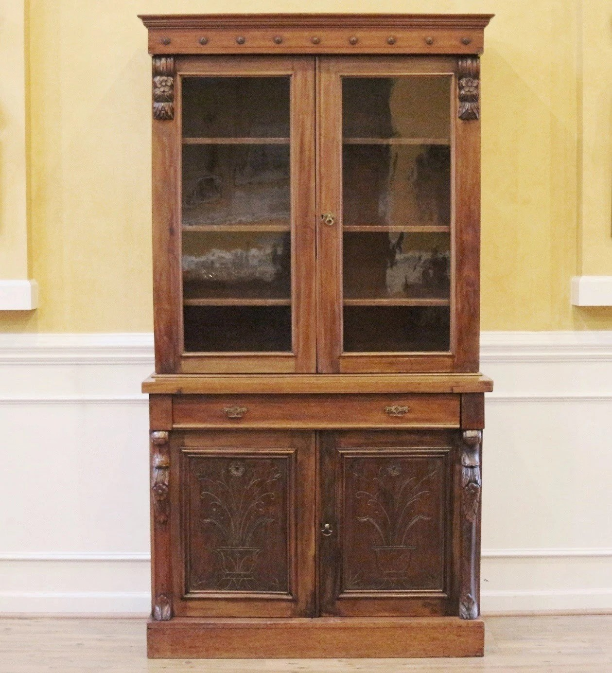 Reduced Antique Carved Mahogany China Cabinet Bookcase