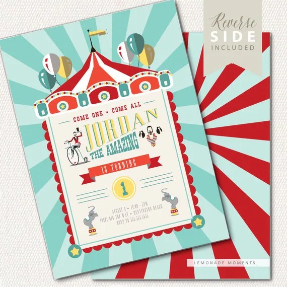 Circus Invitation, Circus Theme Invitation, Big Top, 1st Birthday - Circus Party Invitation