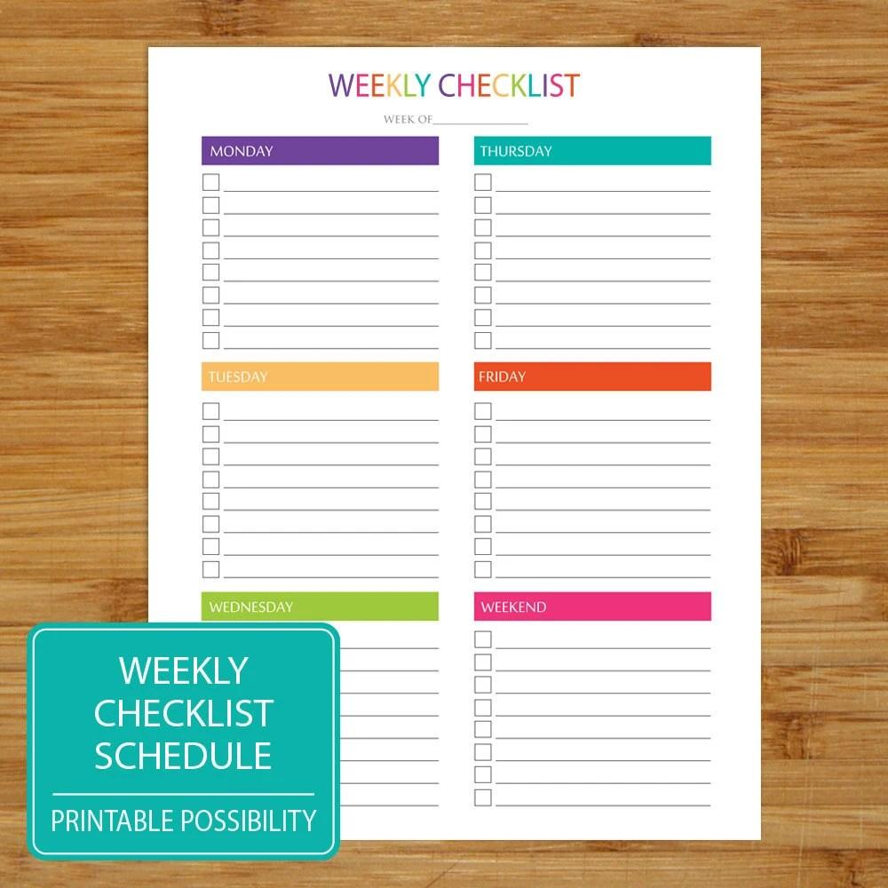 Weekly Checklist Printable Weekly Checklist Brights - weekly checklist