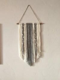 Modern Yarn Wall Hanging Gray and Ivory