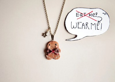 Gingerbread Man Cookie Necklace / christmas gift / xmas