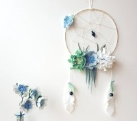 Pastel boho dreamcatcher floral dreamcatcher hoop wall art