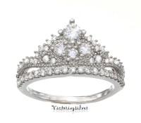 Sterling Silver Crown Ring Promise RingTiara RingPrincess