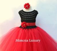 Black and Red Flower girl dress, tutu dress, red