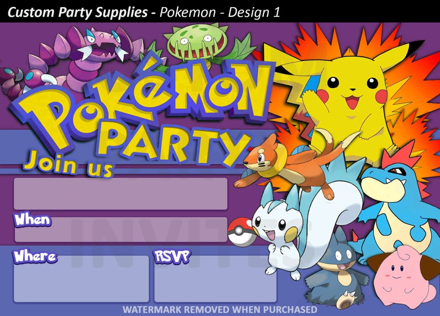 Pokemon Birthday Party Printable Invitations Page Three Birthday Wikii
