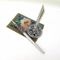 Vintage Pen Set Silver Pen and Pen Holder Desk Set Wedding