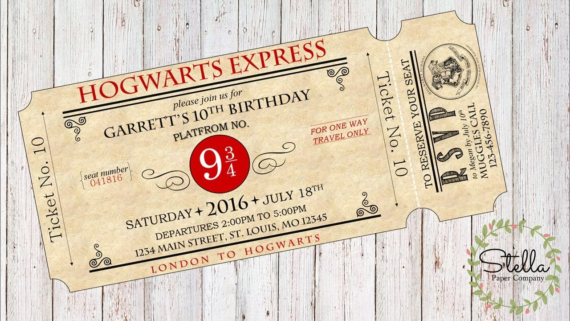 photo regarding Hogwarts Express Ticket Printable named Hogwarts Specific Ticket Invitation Harry Potter Through - Resume