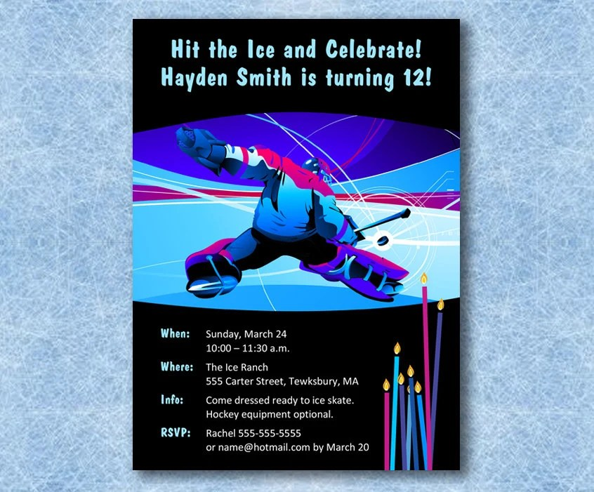 INSTANT DOWNLOAD Hockey Birthday Invitation\u2014Printable, Customizable