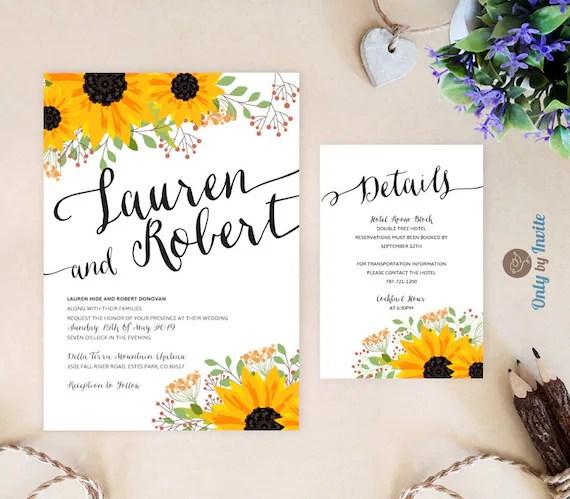 Sunflower Wedding Invitations And Details Card Bundle