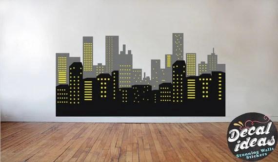 Girl Nursery Wallpaper Uk Batman Skyline Decal Skyline Wall Decal Batman Stickers