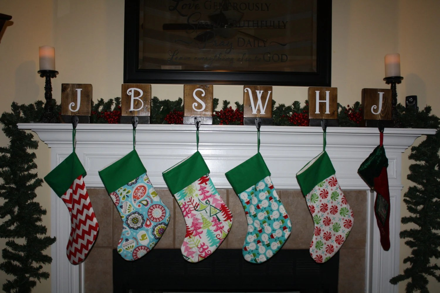 Personalized Rustic Christmas Stocking Holder