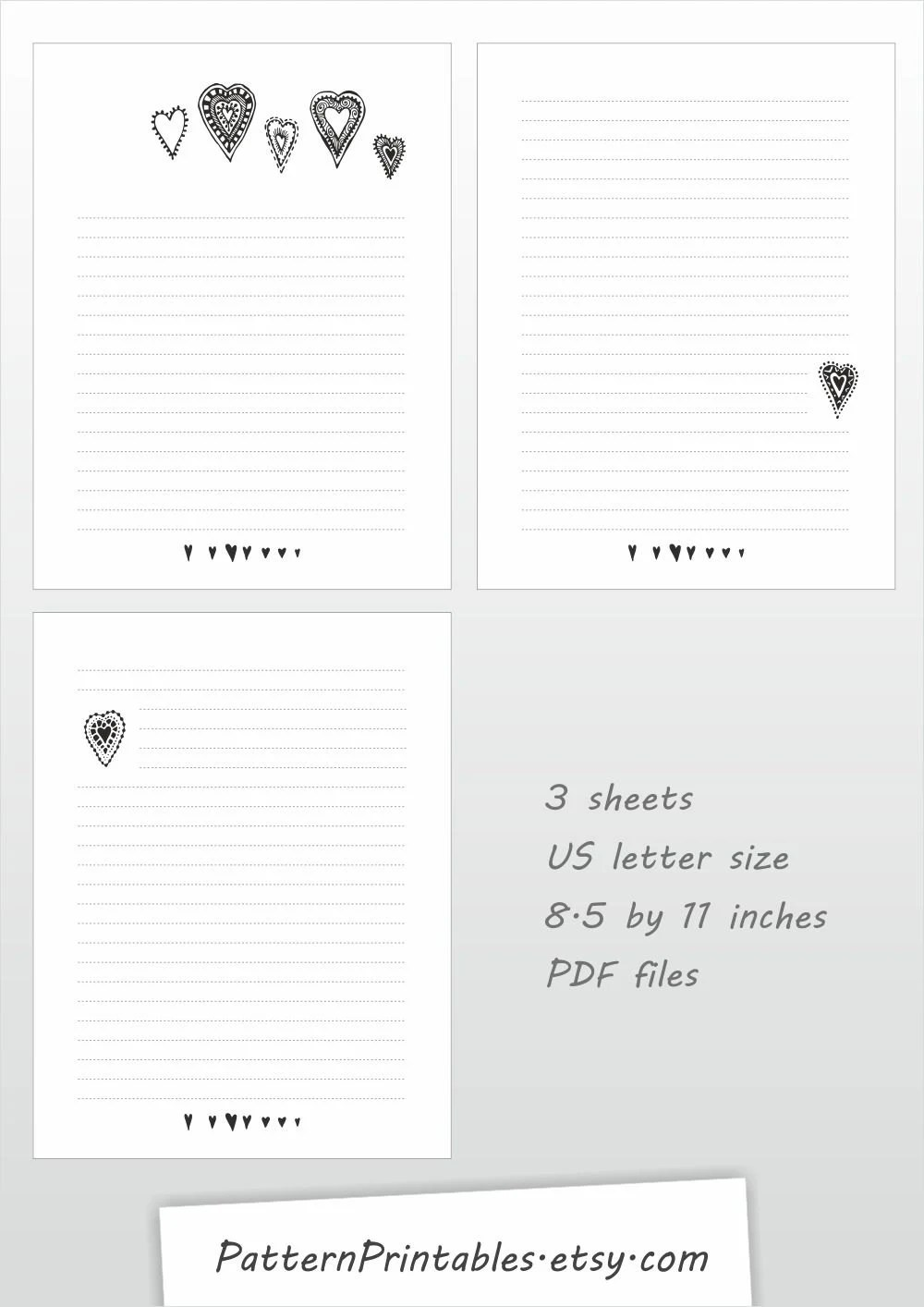 Printable lined letter writing paper cute black and white