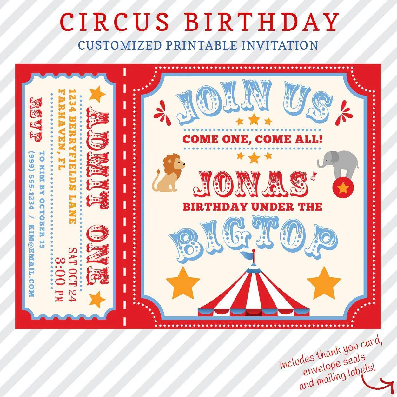 circus invitations free printable