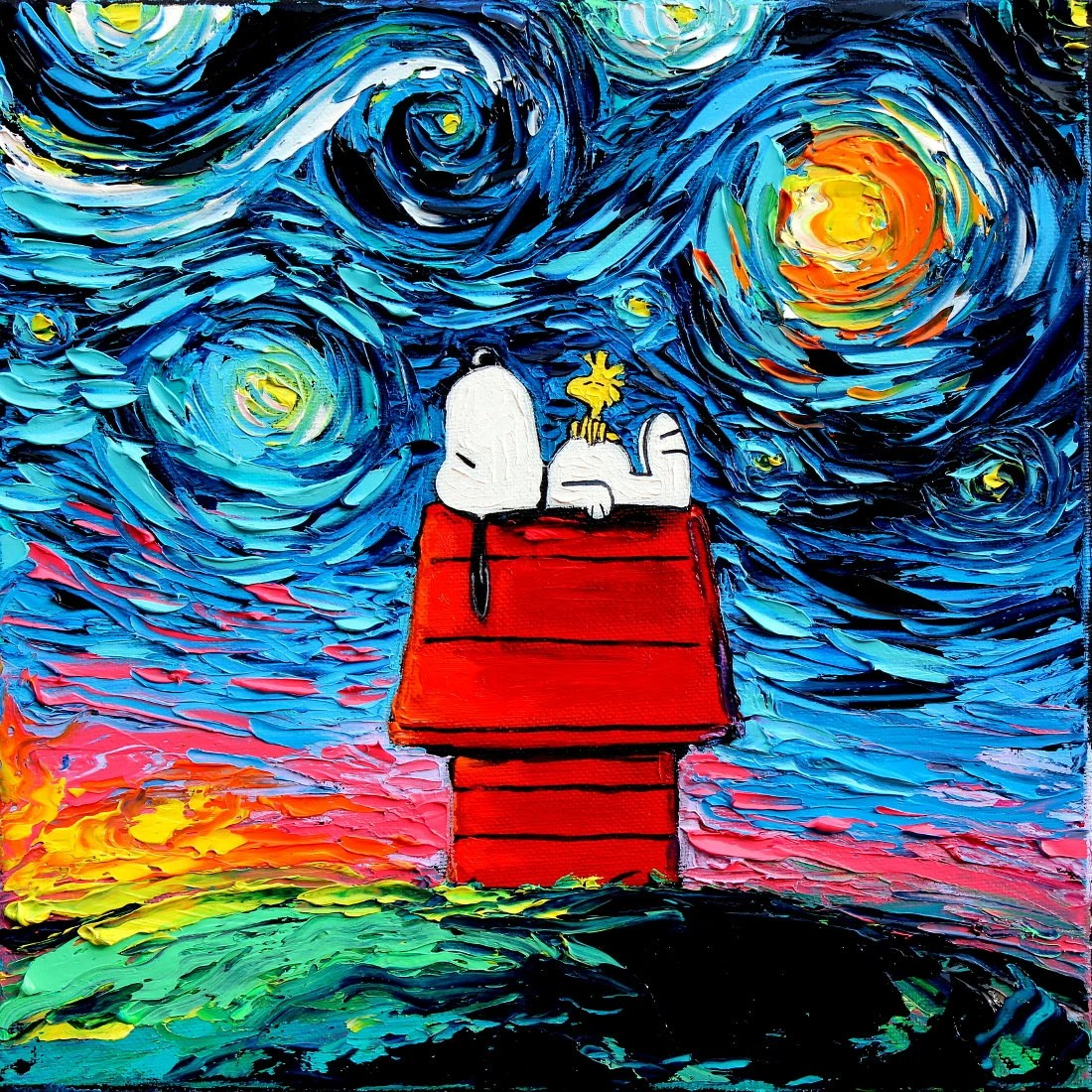 Cuadros De Vango Snoopy Art Peanuts Cartoon Starry Night Print Van Gogh Never