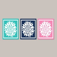 Navy Turquoise Pink WALL ART Bedroom Art Bathroom Artwork