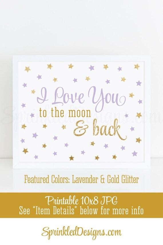 I Love You to the Moon and Back - Printable Nursery Girl Room Wall