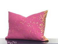 Dark Pink Pillow with Gold Metallic Rice Pattern by FlyingTack