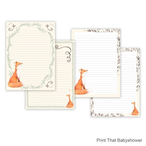 Fox Printable Writing Paper - Stationary Paper - Letter Writing Set - print writing paper