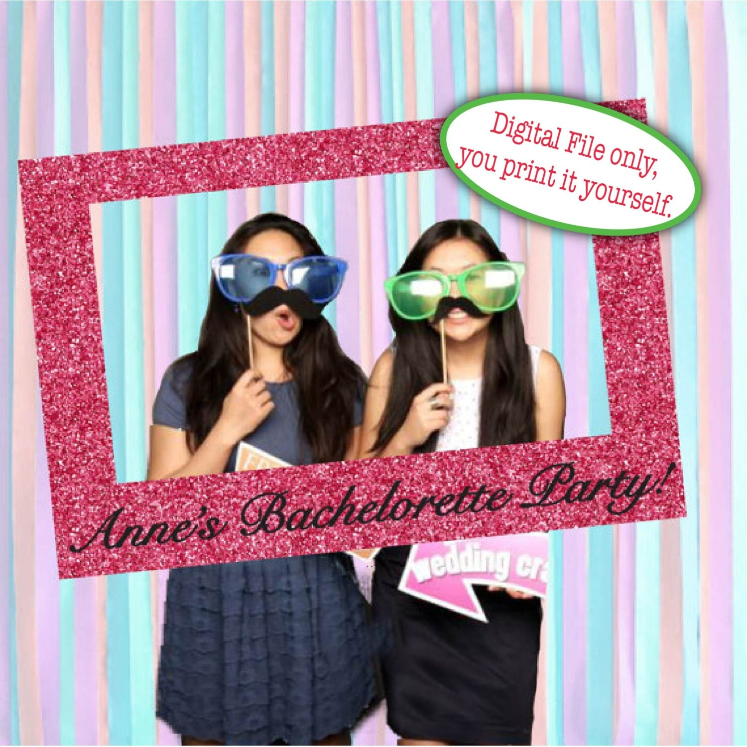Cornici Photo Booth Fai Da Te Print It Yourself Photo Prop Photo Booth Picture Frame Glitter