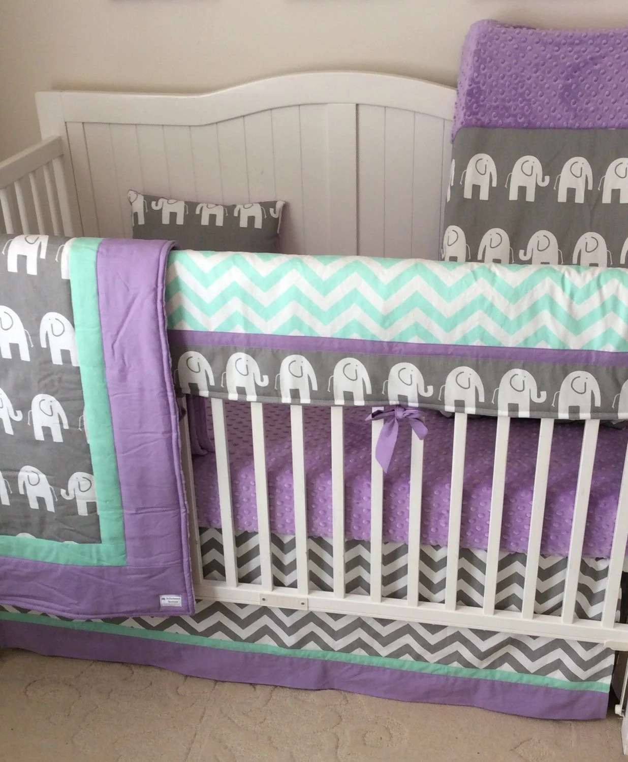 Lime Green Navy And Gray Baby Bedding By Butterbeansboutique
