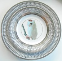 Silver Owl Bird Dinnerware Plates Owl Dishes, Bird Plate,