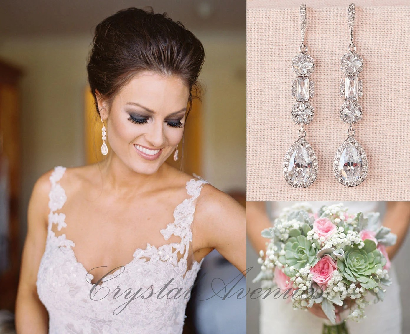 tear drop wedding jewelry Crystal Bridal Earrings Crystal Wedding earrings Long earrings Wedding Jewelry Rose Gold Bridal Jewelry Julienne Crystal Earrings