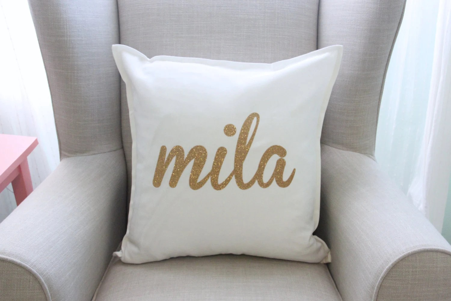 Kissenkiste Personalized Gold Glitter Pillow Cover In White Nursery