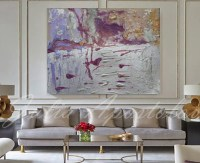 54inch Huge Wall Art Large Abstract Print Silver Painting