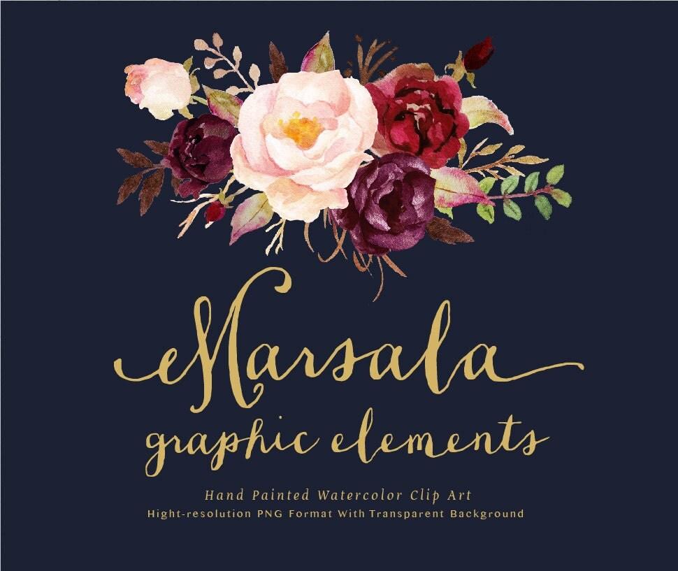 Orange Fall Peonies Wallpaper Watercolor Floral Clip Art Marsala Graphic Elements Individual