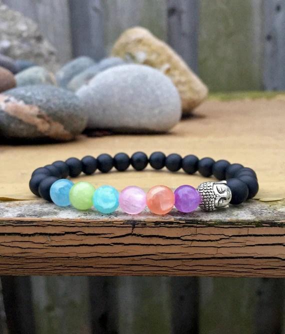 Healing Bracelet Buddha Bracelet Jade Bracelet Rainbow