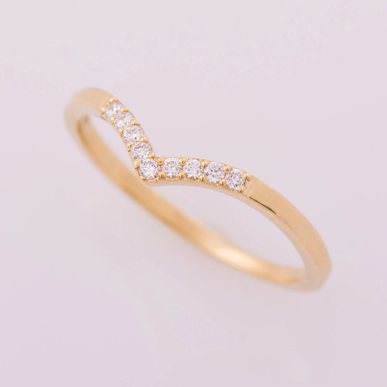 curved wedding band wedding band curved Chevron Ring 14K Yellow Gold Diamonds Ring V Shaped Ring Curved Ring Thin Diamond Ring Dainty Wedding Band Diamond Wedding Ring