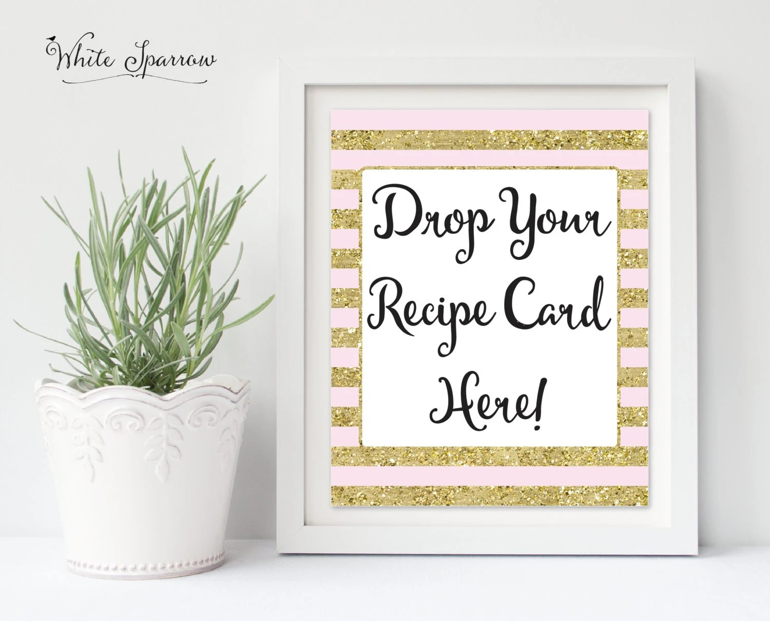 Drop Your Recipe Card Here, Gold Bridal Shower Sign Bridal Shower