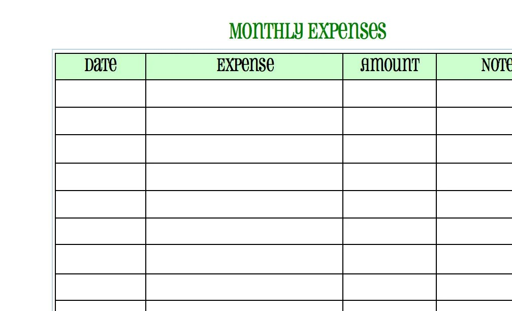 Monthly Expense Sheet - expense sheet