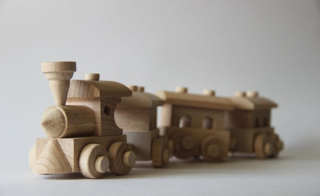 Wooden Train Toy Train And Three Cars Children