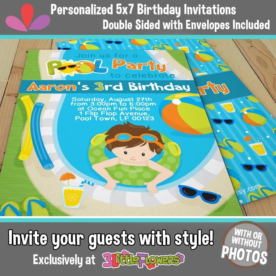 Pool Birthday Invitations - Boy Pool Party Invitations 5 x 7