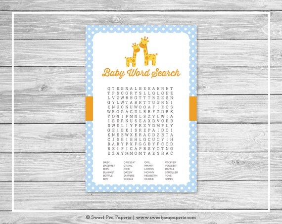 Giraffe Baby Shower Baby Word Search Game - Printable Baby Shower