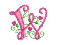 Cute Letter M Alphabet for Lil Princess Hearts Applique