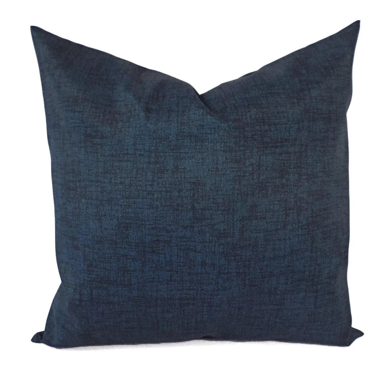 Two OUTDOOR Pillows Navy Pillowcase Navy Pillow Cover