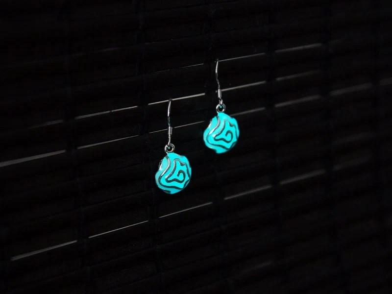 Flower Earrings Glow in the Dark Earrings Aqua Glowing
