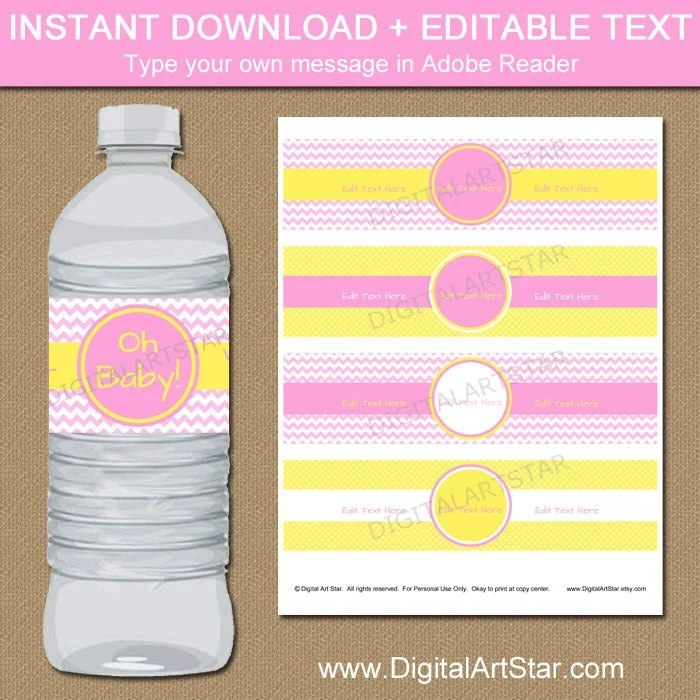 Pink and Yellow Baby Shower Water Bottle Label Template - Printable
