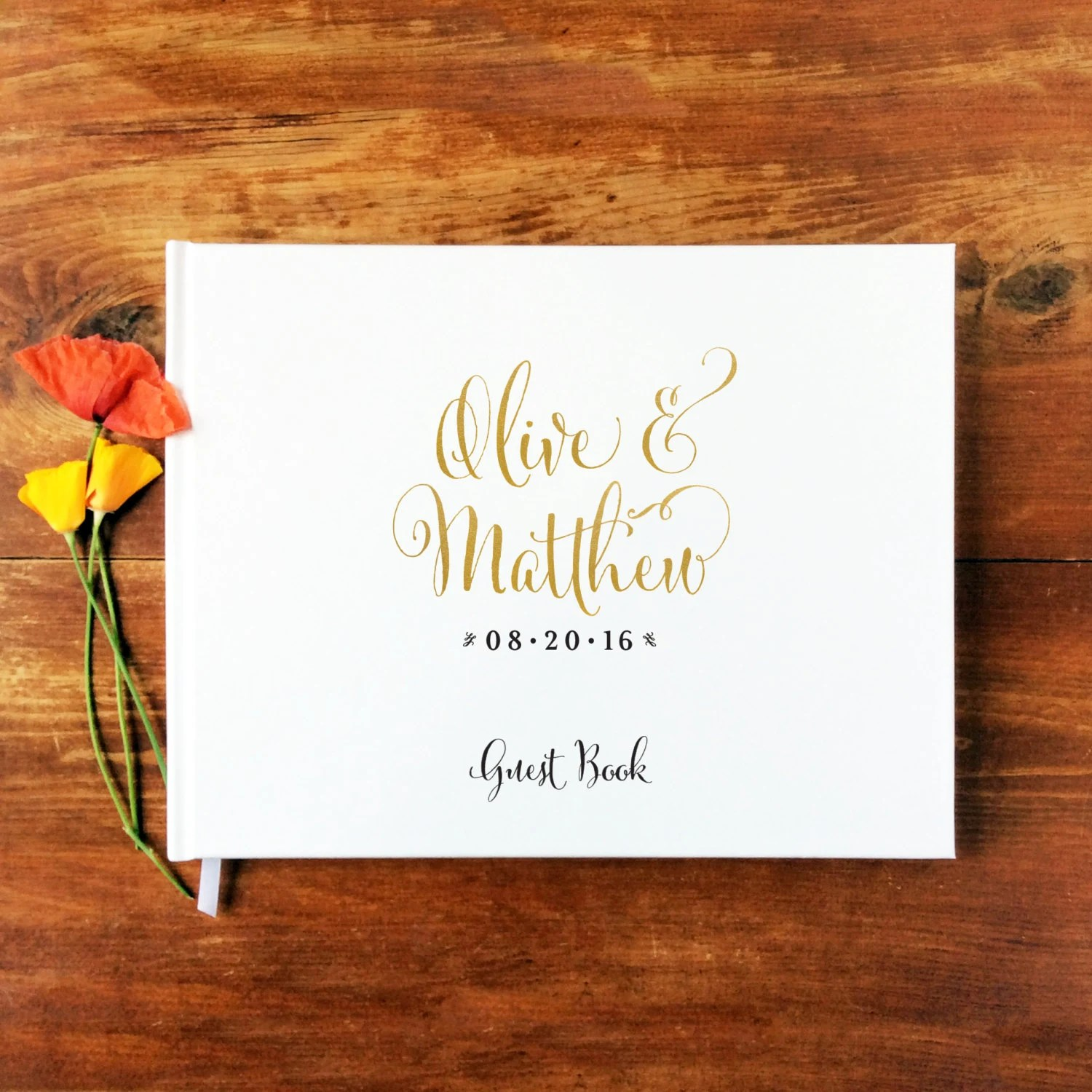 calligraphy wedding photo books Wedding Guest Book Landscape 1 Hardcover Wedding Guestbook Custom Guest Book Personalized Guest Book Gold Calligraphy